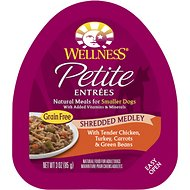 Wellness Petite Entrees Shredded Medley with Tender Chicken, Turkey, Carrots & Green Beans Grain-Free Wet Dog Food, 3-oz, case of 24