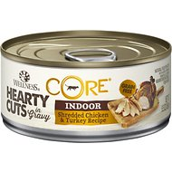 Wellness CORE Grain-Free Hearty Cuts in Gravy Indoor Shredded Chicken & Turkey Recipe Canned Cat Food, 5.5-oz, case of 24