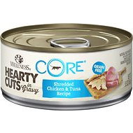 Wellness CORE Grain-Free Hearty Cuts in Gravy Shredded Chicken & Tuna Recipe Canned Cat Food, 5.5-oz, case of 24