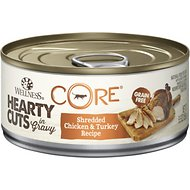 Wellness CORE Grain-Free Hearty Cuts in Gravy Shredded Chicken & Turkey Recipe Canned Cat Food, 5.5-oz, case of 24