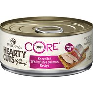 Wellness CORE Grain-Free Hearty Cuts in Gravy Shredded Whitefish & Salmon Recipe Canned Cat Food, 5.5-oz, case of 24