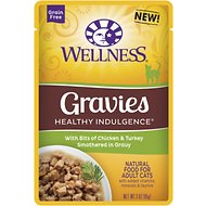 Wellness Healthy Indulgence Gravies with Bits of Chicken & Turkey Smothered in Gravy Grain-Free Wet Cat Food Pouches, 3-oz, case of 24