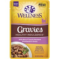 Wellness Healthy Indulgence Gravies with Bits of Tuna & Mackerel Smothered in Gravy Grain-Free Wet Cat Food Pouches, 3-oz, case of 24