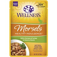Wellness Healthy Indulgence Morsels with Chicken & Turkey in Savory Sauce Grain-Free Wet Cat Food Pouches, 3-oz, case of 24