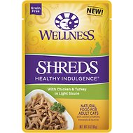 Wellness Healthy Indulgence Shreds with Chicken & Turkey in Light Sauce Grain-Free Wet Cat Food Pouches, 3-oz, case of 24