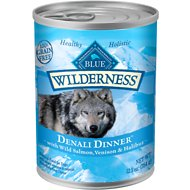 Blue Buffalo Wilderness Denali Dinner with Wild Salmon, Venison & Halibut Grain-Free Canned Dog Food, 12.5-oz, case of 12