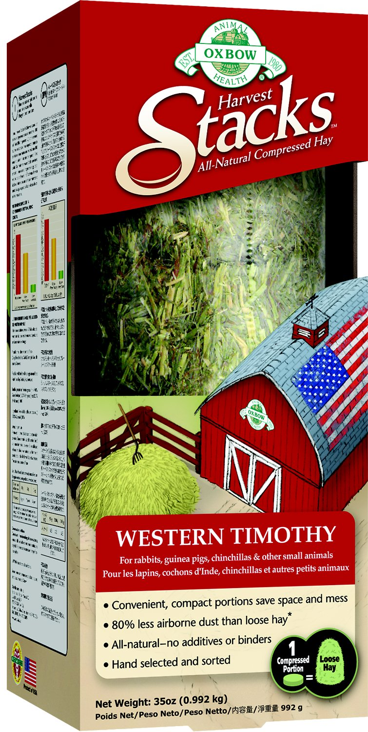 Oxbow 옥스보우 Harvest Stacks Compressed Hay Western Timothy Small Animal Food, 35-oz