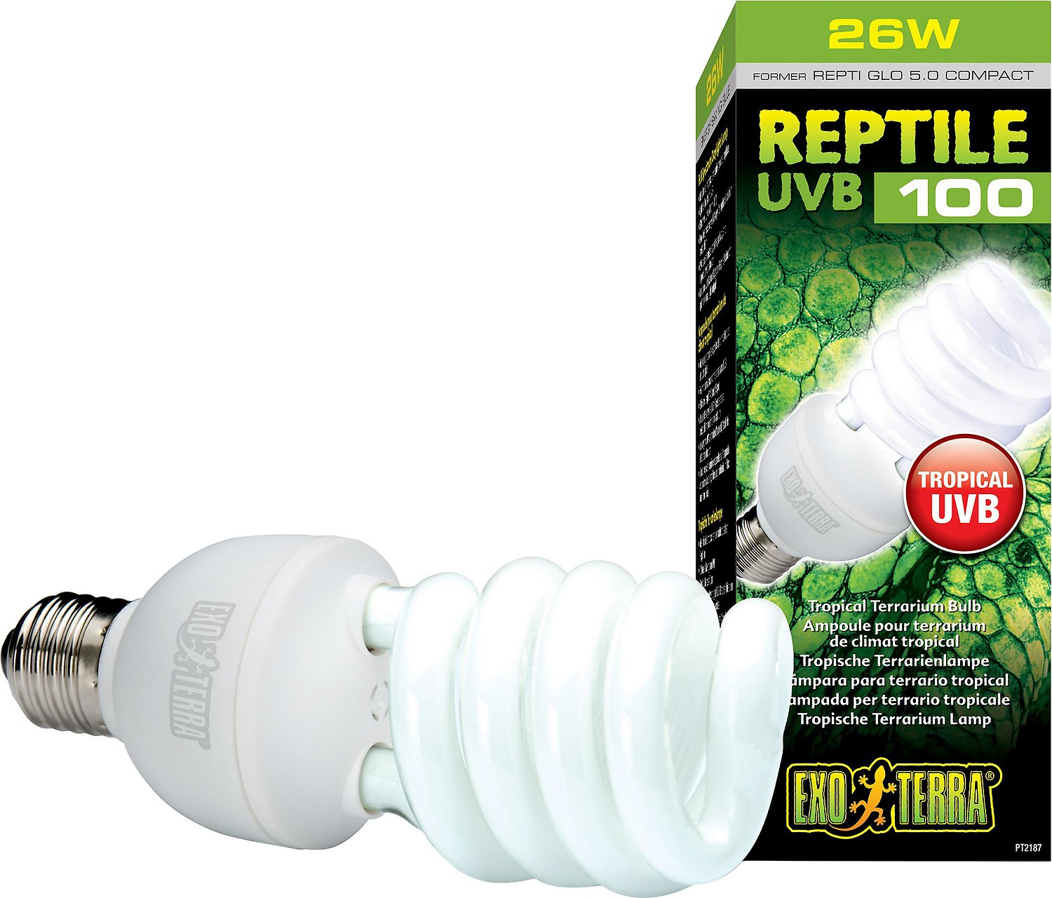 Exo terra tropical uvb 100 reptile lamp 26 w bulb chewy roll over image to zoom in arubaitofo Choice Image