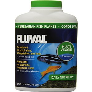 Fluval Vegetarian Flaked Fish Food, 4.94-oz jar; Keep your tropical fish active and enhance their color with Fluval Vegetarian Flaked Fish Food. Water quality, low stress and a healthy diet all contribute to fish health and coloration, but a diet with natural color-enhancers is key. Fluval Vegetarian Flaked Fish Food contains spirulina, a rich source of natural pigments, four types of vegetables and nutritious kelp. It is an excellent, highly-palatable source of protein for energy, trace elements, antioxidants and Omega 3 fatty acids. This high-quality food is ideal for herbivores, carnivores and omnivores.