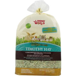 Living World Timothy Hay Small Animal Food, 48-oz bag; Living World Timothy Hay Small Animal Food is specially grown to complement the nutritional needs of small pets. Timothy hay has a fresh fragrance and crunchy texture that entices pets and encourages consumption. Its high fiber content is vital for small pets\\\' digestion and helps lessen intestinal gas and bloating. As the most widely recommended hay by veterinarians for rabbits, guinea pigs, chinchillas and other herbivores, Timothy hay also helps prevent obesity, maintain a healthy urinary system and improve overall health, plus it keeps small pets\\\' continuously growing teeth healthy. With no additives, Timothy hay is a healthy food that makes a safe, comfortable nesting material to keep pets warm and secure.