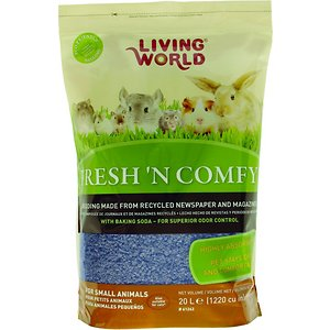 Living World Fresh \\\'N Comfy Small Animal Bedding, Blue, 20-L; Living World Fresh \\\'N Comfy Small Animal Bedding is environmentally friendly, safe and comfortable for small pets. Made from biodegradable recycled newspaper, Fresh \\\'N Comfy is dust free and does not contain phenols or scented oils that can be harmful to the respiratory system of small animals. This bedding contains baking soda, which provides more absorbency and superior odor control and allows the bedding to last longer between cage changes. It\\\'s suitable for all small animals, reptiles, birds and cats, and it creates a natural burrowing and nesting environment that stimulates superior environmental enrichment.