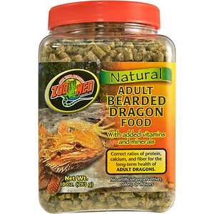 Zoo Med Adult Bearded Dragon Food, 10-oz jar; Your bearded dragon\\\'s health will greatly benefit from Zoo Med\\\'s natural Adult Bearded Dragon Food with added vitamins and minerals. This formula has been created with your bearded dragon\\\'s nutritional requirements in mind. The correct ratios of protein, calcium and fiber are included for the long-term health of adult bearded dragons. These reptiles will enjoy the flavorful dandelion greens and other nutritional plants that make up this food. Zoo Med Adult Bearded Dragon Food contains no artificial colors, flavorings or preservatives.
