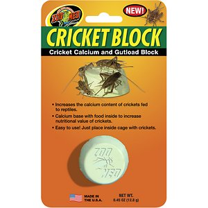 Zoo Med Cricket Block Reptile Supplement; The Zoo Med Cricket Block Reptile Supplement offers an easy way to deliver calcium to insect-eating reptiles and amphibians. It's a no-mess alternative to calcium dusting that boosts the nutrient content of live crickets—aka gut loading. This calcium-based block has added nutrients and vegetables to optimize cricket health and the reptiles that eat them. It's easy to use—just place it inside the cage with the crickets and let them feed.