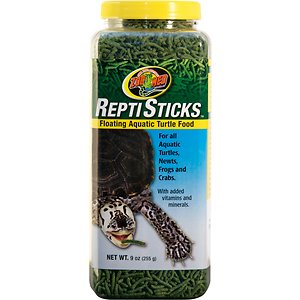 Zoo Med Repti Sticks Floating Aquatic Turtle Food, 9-oz jar; Zoo Med Repti Sticks Aquatic Turtle Food is specially formulated to meet the needs of aquatic species of turtles, newts, frogs and crabs. Zoo Med has over 25 years of experience researching the nutritional requirements of reptiles and developing foods that meet their needs. In nature, aquatic turtles eat animal and plant material as part of their natural diet. These floating Repti Sticks are made with fish, shrimp and kale to simulate their natural diet, plus added vitamins and minerals for complete nutrition.