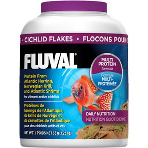 Fluval Cichlid Flakes Fish Food, 1.23-oz jar; Keep your cichlid active, healthy and vibrant with Fluval Cichlid Flakes Fish Food. Cichlids need quality food high in protein to keep up with their high metabolisms and rich in carotenes to enhance coloration. Fluval Cichlid Flakes Fish Food contains protein from Atlantic Herring, Norwegian Krill, Atlantic Shrimp and green mussels. It is highly palatable and contains Omega 3 fatty acids and complex carbohydrates from nutritious kelp that is harvested in an ecologically responsible way.