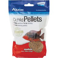 Aqueon Medium Cichlid Pellet Fish Food, 7.5-oz bag