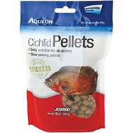 Aqueon Jumbo Cichlid Pellet Fish Food, 5-oz jar