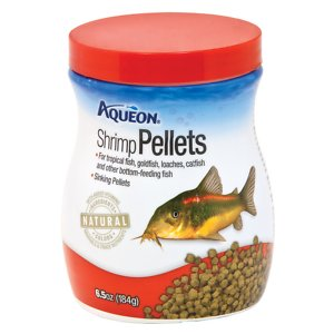 Aqueon Shrimp Pellet Tropical Fish Food, 6.5-oz jar; Aqueon Shrimp Pellet Tropical Fish Food is a nutritious food designed to feed tropical fish, goldfish, loaches, catfish and other bottom-feeding fish. These pellets will sink to the bottom of the tank for fish that prefer to graze there. Your fish will stay healthy and full of energy with this nutritionally complete diet that includes delicious shrimp meal and premium whole fish meal from herring and salmon. Aqueon uses all-natural ingredients to allow fish to utilize more nutrients, which leads to less waste in the aquarium.