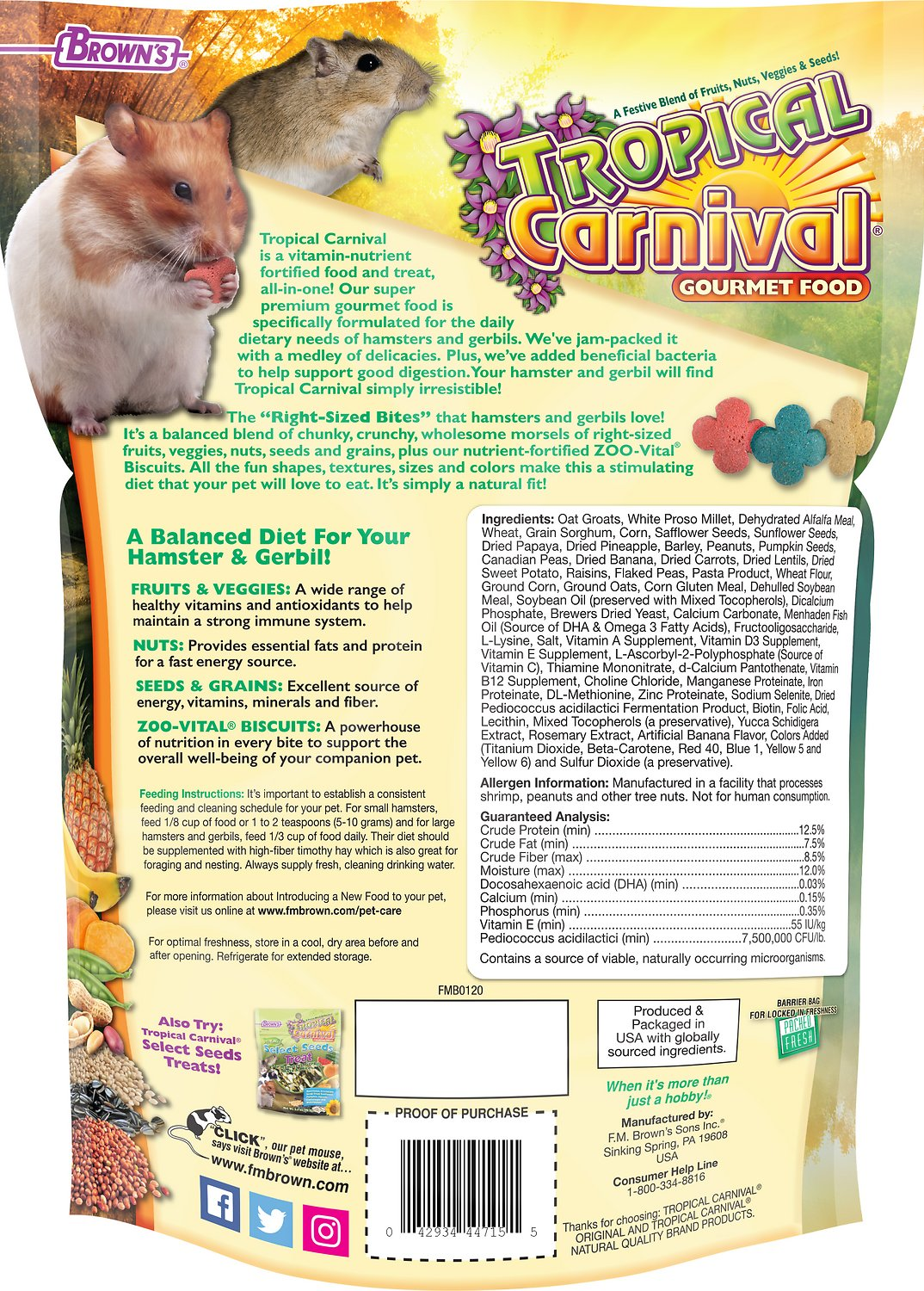 Brown's Tropical Carnival Hamster & Gerbil Food, 2-lb bag