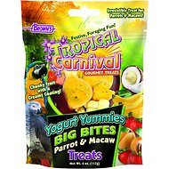 Brown's Tropical Carnival Yogurt Yummies Big Bites Parrot & Macaw Bird Treats, 4-oz bag