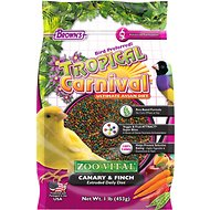 Brown's Tropical Carnival ZOO-Vital Canary & Finch Bird Food, 1-lb bag