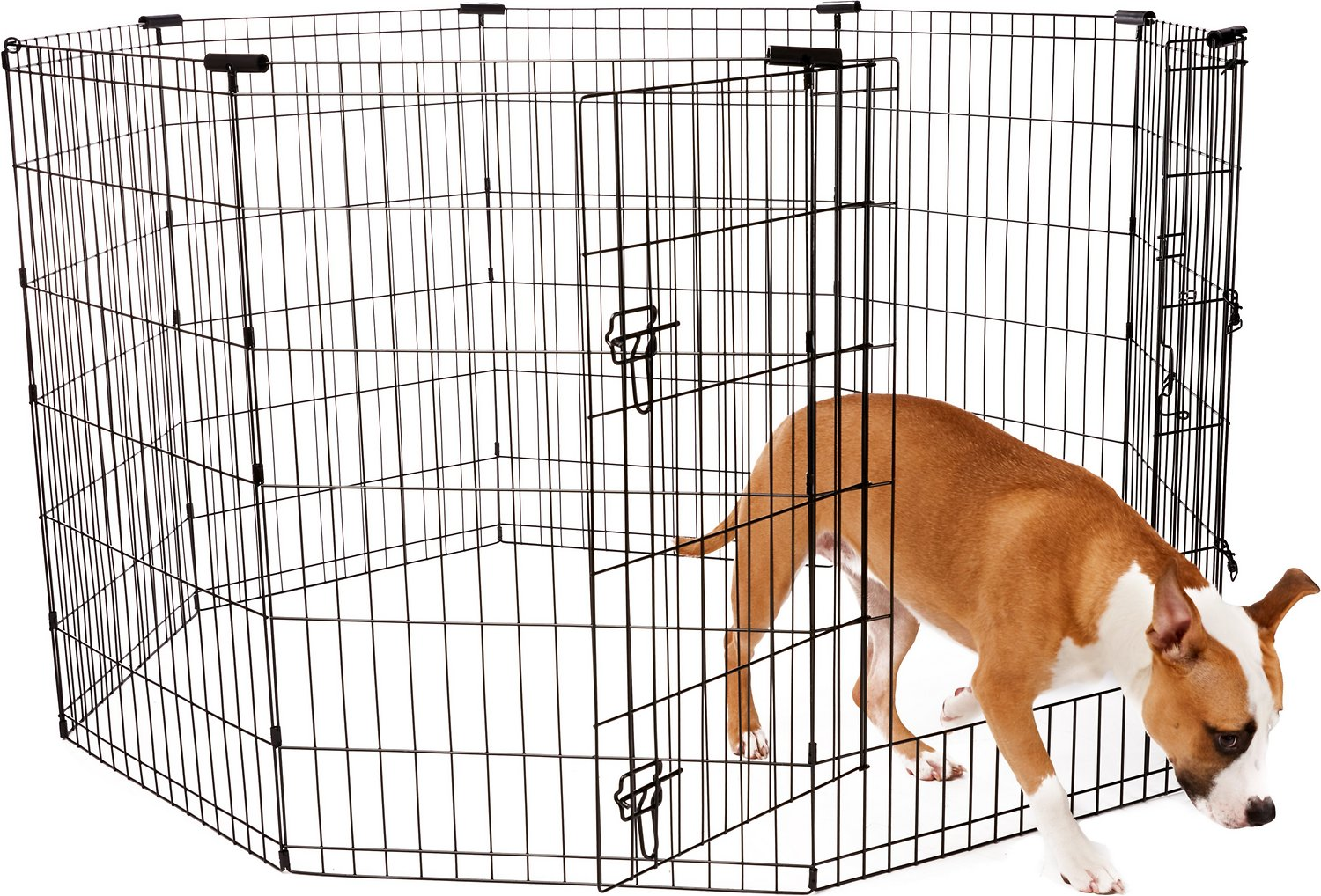 Frisco Dog Exercise Pen With Step Through Door Black 36