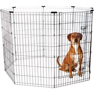 Frisco Dog Exercise Pen with Step-Through Door, Black, 42-inch