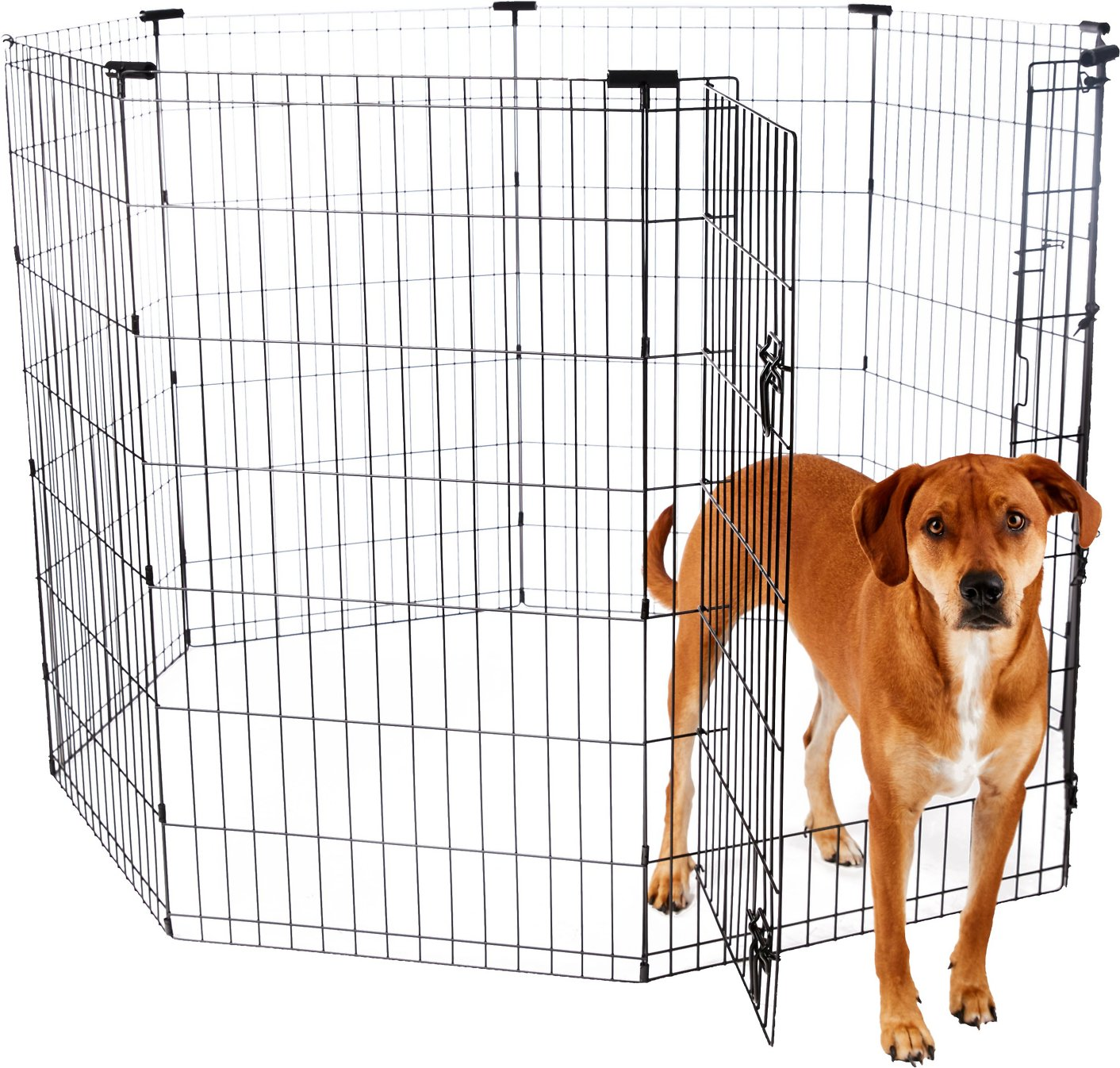 Frisco Dog Exercise Pen With Step Through Door Black 42