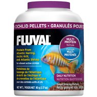 Fluval Multi Protein Formula Cichlid Pellets Fish Food, 3.17-oz jar
