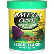 Omega One Veggie Flakes Freshwater & Marine Fish Food, 1-oz jar