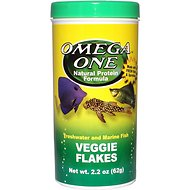 Omega One Veggie Flakes Freshwater & Marine Fish Food, 2.2-oz jar
