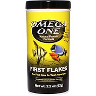 Omega One First Flakes New Aquarium Fish Food, 2.2-oz jar