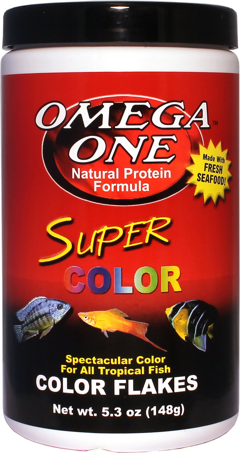 Omega One Super Color Flakes Tropical Fish Food, 5.3-oz jar - Chewy.com