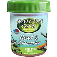 Omega One Newt & Salamander Sinking Pellets Food, 1.2-oz jar