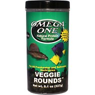 Omega One Sinking Veggie Rounds Freshwater & Saltwater Fish Food, 8.1-oz jar