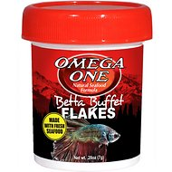 Omega One Betta Buffet Flakes Fish Food, .28-oz jar