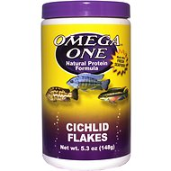 Omega One Cichlid Flakes Fish Food, 5.3-oz jar