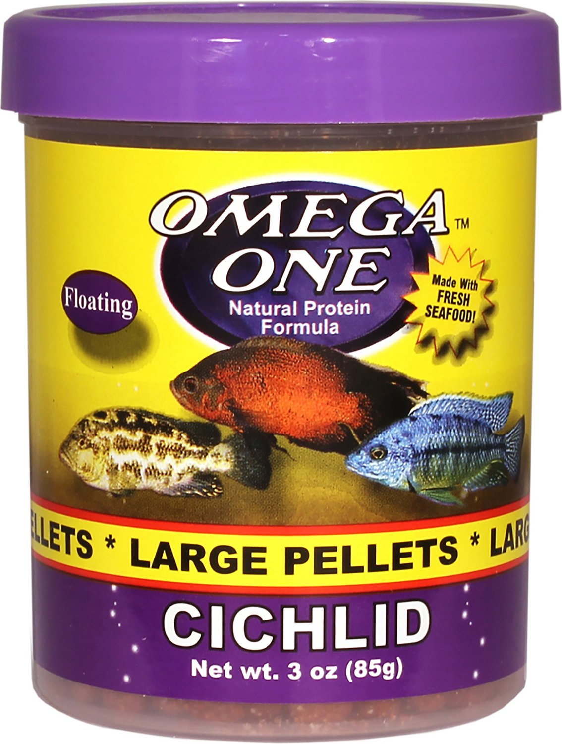 Omega one large cichlid pellets floating fish food 3 oz for Fish food pellets