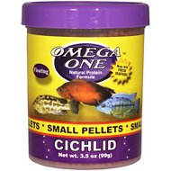 Omega One Small Cichlid Pellets Floating Fish Food, 3.5-oz jar