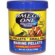 Omega One Small Marine Pellets with Garlic Fish Food, 4.5-oz jar