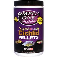 Omega One Super Color Cichlid Pellets Sinking Fish Food, 20-oz jar