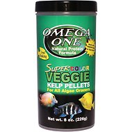 Omega One Super Veggie Kelp Pellets Sinking Algae Grazers Fish Food, 8-oz jar
