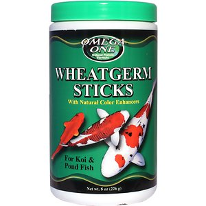 Omega One Wheat Germ Sticks Koi & Pond Fish Food, 8-oz jar; Omega One Wheat Germ Sticks Koi & Pond Fish Food offers the highest quality diet for your fish during the colder months of the year. Made with wheatgerm, fresh ocean kelp, and spirulina, this formula provides fish with the proper nutrients and fiber to keep them healthy as their digestive system slows. Feed when water temperature is 40 to 50 degrees Fahrenheit.
