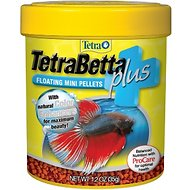 Tetra Betta Plus Floating Mini Pellet Fish Food, 1.2-oz jar