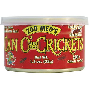 Zoo Med Mini Can O\\\' Crickets Reptile & Bird Food, 1.2-oz can; Zoo Med Mini Can O\\\' Crickets Reptile & Bird Food is the latest in reptile nutrition and convenience. Feeder insects are cooked in the can to lock in flavor and freshness. This process also softens the exoskeleton for easier digestion. These mini-size crickets are ideal for most small lizards, turtles, fish and birds as well as small animals. Every can is filled with 200+ delicious crickets. It's a much more convenient way to feed your pet than having to store live insects until mealtime.