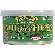 Zoo Med Jumbo Can O' Grasshoppers Reptile & Bird Food, 1.2-oz can