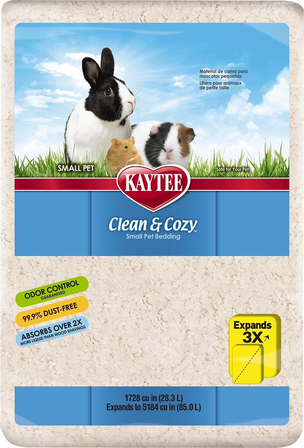 kaytee clean & cozy small animal bedding, 96.3-l - chewy