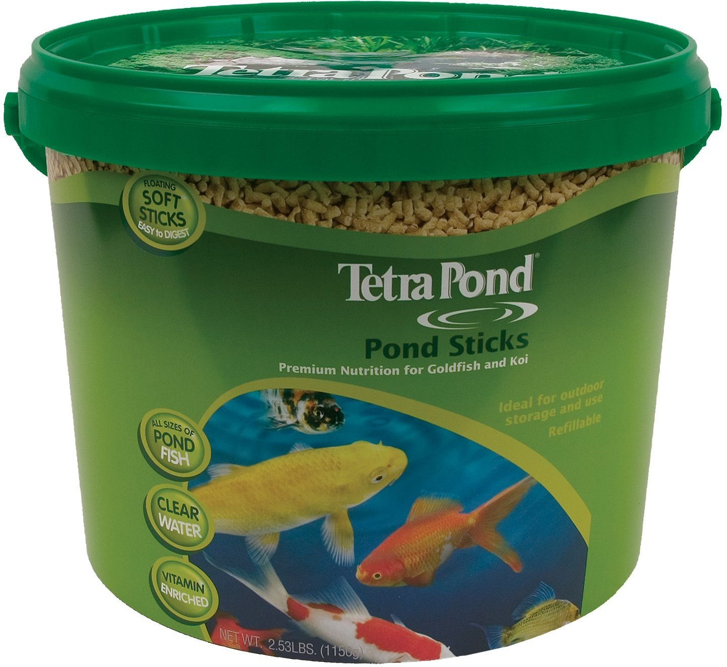 Tetra pond sticks goldfish koi fish food bucket for Pond fish food