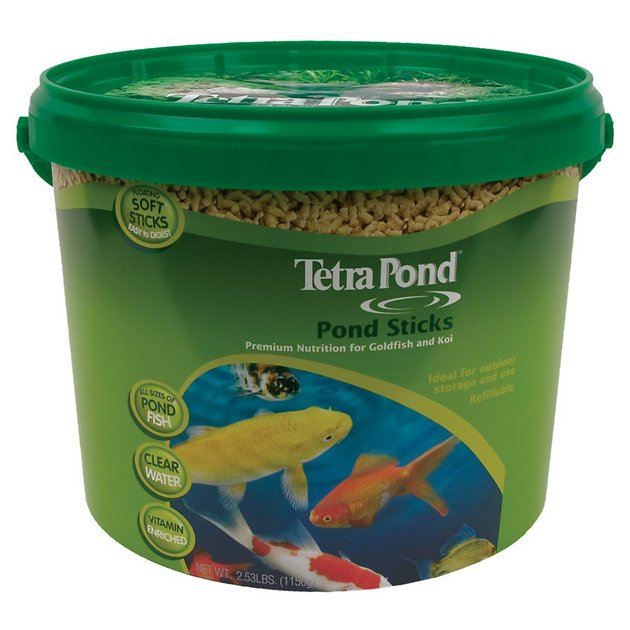 Tetra pond sticks goldfish koi fish food bucket for Koi pond sticks
