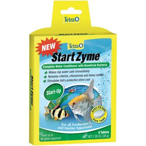 Tetra StartZyme Beneficial Bacteria Complete Water Conditioner, 8 count; Make tap water safe for your tropical fish, Goldfish and marine fish with Tetra StartZyme Beneficial Bacteria Complete Water Conditioner. Tap water contains chlorine, chloramines and heavy metals which are harmful to fish. Tetra StartZyme Beneficial Bacteria Complete Water Conditioner neutralizes these pollutants to make tap water safe so you can add fish to your tank. It stimulates fish\\\'s slime coat to reduce stress and heal wounds and contains a blend of beneficial bacteria and enzymes to break down organic sludge.